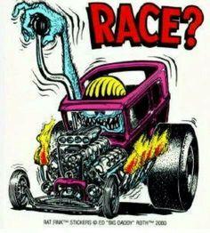Anyone remember the Rat Fink decals? Rat Fink, Weird Cars, Cool Cars, Ed Roth Art, Monster Car, Garage Art, Kustom Kulture, Car Drawings, Big Daddy