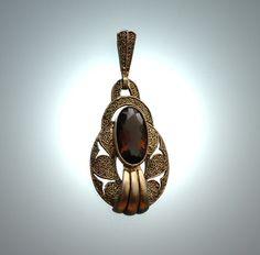 An Art Deco 925 silver-gilt and smokey quartz pendant,  Gustav Braendle-Theodor Fahrner, Germany circa 1934-