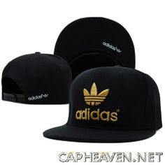 Adidas snapback with black logo Unisex, high quality  http://capheaven.net/shop/adidas/adidas-black-snapback-gold-logo/