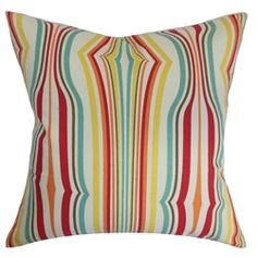 Add a festive mood into your home by decorating it with this stripes throw pillow. This accent pillow features a unique print pattern and bursts with carnival-themed shades like orange, yellow, blue and white. You can combine this square pillow with the other Cachoiera Stripes Pillow with a different color palette to complete your decor collection. Made from 100% plush cotton fabric. $55.00   #stripes  #homedecor  #pillows