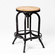 Adjustable Natural Fir Wood Finish Barstool as side table, (replace wood with stone)