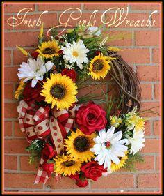 Large Sunflower Rose Daisy Summer Ladybug by IrishGirlsWreaths