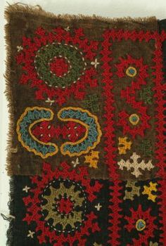 """Coverlet of cotton embroidered with a circular center in a dense field within multiple borders. The so called Armenian embroideries are easily identifiable: coarse, indigo dyed cotton ground worked with coiled silk in mostly uncounted cross stitching. Their origin however isn't that clear and could be Armenian or Indian.  Armenia, 19th c., silk on cotton, very good condition, 20"""" x 37"""""""