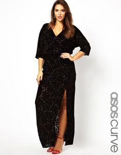ASOS CURVE Kimono Maxi Dress In Devore