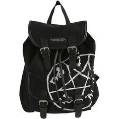 Hot Topic Supernatural Runes Medium Slouch Backpack (€25) ❤ liked on Polyvore featuring bags, backpacks, accessories, draw string bag, drawstring knapsack, hot topic, slouchy bags and knapsack bag
