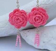 Crochet earring jewelry  Large crochet earring  Pink by lindapaula, €12.00