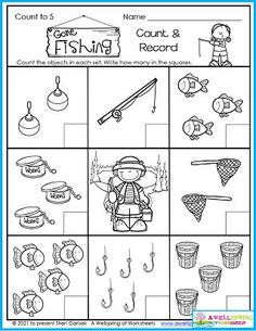 """Kids count up to 5 in this summer """"Gone Fishing"""" counting worksheet for kindergarten. I wonder how many of them know how to fish... You could use this page to teach them! You'll find plenty more summer worksheets where this one came from in my July Counting Worksheets set. There's 30 pages of counting, graphing, number tracing, color by number, and more! You don't want to miss out! Counting Worksheets For Kindergarten, Summer Worksheets, Graphing Worksheets, Alphabet Tracing Worksheets, Counting For Kids, Kids Count, Number Tracing, Writing Lines, Upper And Lowercase Letters"""