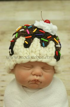 Vanilla Ice Cream Sundae Hat, newborn Halloween