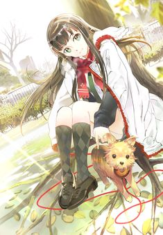 ANIME ART Animal Anime Girl With Dog