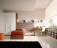 Bedroom,Exciting White Wall Paint Teenage Bedroom Furniture For Boy Design Ideas With Cool Awesome Wood Bed Frame On Combined Soft Orange Mattress And Gorgeous Study Space Also Extra Tall Wardrobe In White Brown Color Plus Wonderful Black Fur Rug ,Modern Teenage Bedroom Furniture For Boys Design Inspiration
