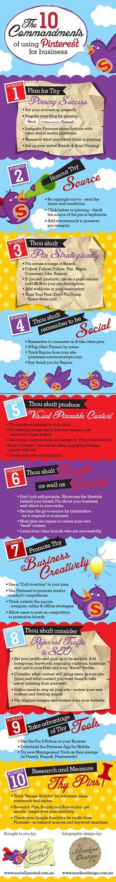 10 commandments of using Pinterest for business #Pinterest #SocialMedia #Infographic: