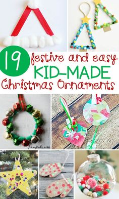 These 19 festive and easy Kids' Christmas ornaments are sure to give you some ideas for what you would like to make with your kids this year! #kindergarten #preschool #iteachk #iteachtoo