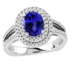 Oval Tanzanite Ring in 14K White Gold with Diamonds, Price - $3896