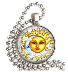 Sun and Moon Art Pendant Forbidden Love Earrings by YessiJewels