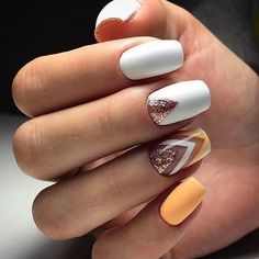 white nail art with yellow and gold accents #nail #design #ideas #nailart