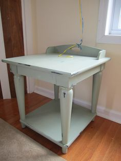 Cheap and Wise: Chalk Paint End Tables - an Experiment - and filled in grooves
