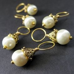Pearl and Gold Stitch Markers by Gilliauna