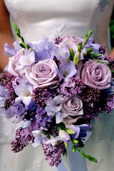 Purple & Blue Wedding Bouquets ❤ http://www.weddingforward.com/purple-blue-wedding-bouquets/