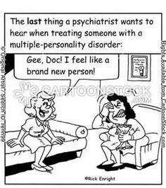 Multiple Personality Disorder ok so to clear this up 1 of you is moving to Cali 1 is dating 1 is single another is engaged I'm already lost how many are there? Psychology Jokes, Psychology Programs, Colleges For Psychology, Funny Cartoons, Funny Comics, Bipolar Humor, Bipolar Disorder, Social Work Humor, Mental Health Humor