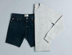 Topman Ltd grey marl sweater and denim shorts