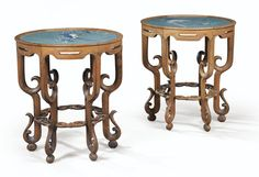 A PAIR CIRCULAR CLOISONNÉ ENAMEL PLAQUES MOUNTED AS TABLES, CHINA, LATE QING DYNASTY  Sotheby's