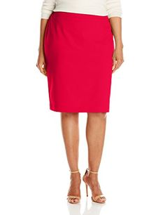 Nine West Womens PlusSize Solid Stretch Skirt Fire Red 20W >>> You can find out more details at the link of the image.