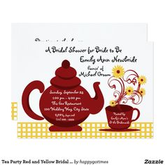 Tea Party Red and Yellow Bridal Shower Card
