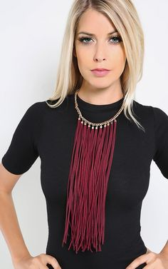 Boho chic is calling your name with the statement leatherette fringe necklace. It features long leatherette fringe tassel design that would add a fierceness to any outfit. I MakeMeChic.com