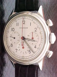 Classic 1950's Vintage Movado SS Calibre 95 Triple Register Chronograph.  Shame that Movado doesn't make stuff like this these days. Beautiful face.