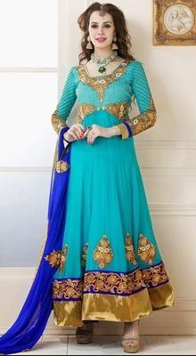 Luscious Cyan Blue Chudidar Kameez