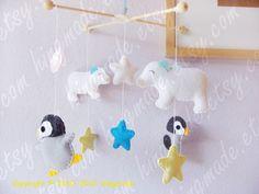 Baby Crib Mobile - Nursery Mobile - Penguin mobile - Arctic Nursery - Ice world Penguins Polar Bears