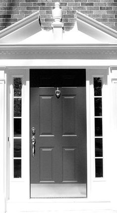 Windows and Doors - Custom built colonial front entry surround. Front Door Trims, Front Entry, Exterior Doors, Entry Doors, Traditional Front Doors, Doors Online, Garden Doors, Windows And Doors, Curb Appeal