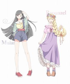 Modern-day Anime versions of Mulan and Rapunzel - Art by たねみん Disney Princess Pictures, Disney Princess Drawings, Disney Princess Art, Disney Fan Art, Disney Drawings, Disney Princesses, Disney Anime Style, Disney Characters, Disney Pixar
