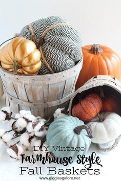 DIY Vintage Farmhouse Style Fall Baskets using Vintage Effect Wash