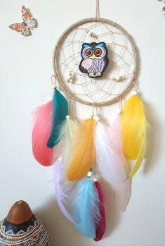 Owl Dream Catcher Nursery Wall Hanging Owl Dreamcatcher Woodland Nursery Decor Dream Catcher Made with attention and love this dream catcher brings its owners good dreams and positive energy. Hang in the bedroom, nursery, living room, at a party, as wedding decor, baby shower gift, the possibilities are endless! Owl Dream Catcher, Dream Catcher Decor, Dream Catcher Nursery, Goose Feathers, Woodland Nursery Decor, Dream Decor, Wooden Beads, Green And Purple, Decorative Objects