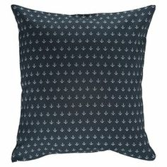 """Add a coastal touch to your favorite arm chair or sofa with this cotton pillow cover, showcasing an anchor motif in navy.  Product: Pillow coverConstruction Material: 100% Turkish cottonColor: NavyDimensions: 16"""" x 16""""Note: Insert not included"""