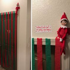 Elf on the shelf ideas: have him repel from streamers Christmas Elf, All Things Christmas, Christmas Crafts, Christmas Ideas For Kids, Christmas Vacation, Christmas Carol, Christmas Inspiration, Awesome Elf On The Shelf Ideas, Elf On The Shelf Ideas For Toddlers