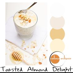 toasted almond and honey oats with color palette, honey tones, white background, golden orange, pale mauve, pale taupe