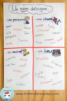 Nouns Anchor Charts in French - people, places, things, and animals