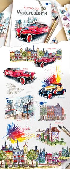 Retro cars & city streets by Mikibith on Watercolor Illustration, Floral Watercolor, Cute House, City Car, Car Sketch, Environmental Graphics, Retro Cars, City Streets, Design Bundles