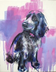 Pet portrait commission by Erin Whitty; erinwhitty.com Tags: Dog, cocker spaniel, Australian, painting, contemporary