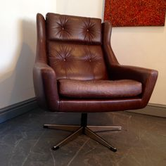 Vintage Leather Swivel Chair http://www.kingdomfurnishings.uk/?p=690 a brown leather handsome swivel chair on a five spoke chrome base, in fine Vintage condition.