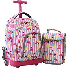 Girls rolling backpack with lunchkit. Backpack measures 6.5 x 14.5 ...