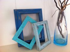 Gallery Blue Frames Vintage Nautical Beach Decor Shabby Chic Distressed Upcycled Blue Frames