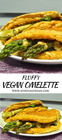 Light and fluffy vegan omelette (soufflé style) with deep, earthy chickpea flavour, stuffed to bursting with delicious sautéed vegetables & cashew cheese. #omelette #vegan #veganomelette