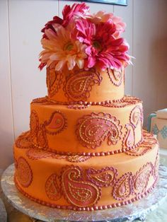 Tangerine and pink paisley design, by Konditor Meister Elegant Wedding Cakes. Great color combo!