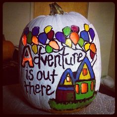 Disney Pixar. UP! Pumpkin carving. Adventure is out there! Acrylic paint & 2 dollar carving kit