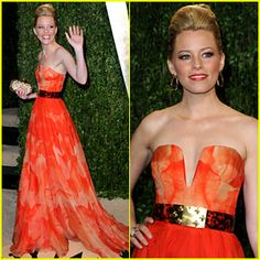 Elizabeth Banks - Vanity Fair Oscars Party 2013 - really into this look for her.  It's on trend with the screen print but airy AND sexy.  Great color and one you know not everyone will be wearing. Sometimes her make up is way off but I think this look works all together.