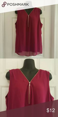 NY&CO Berry Zip Front Mixed Media Top NY&CO Berry Zip Front Top with gold details. Mixed Media Top. 95% Rayon and 5% Spandex body with 100% Polyester overlay. Great condition. Length from shoulder to hem is approx 26 inches. New York & Company Tops Blouses