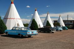 "Hotel in Holbrook, AZ, USA - off the old Rt 66 - stayed in the first one shown here...that '59 Impala was there as well.  The inside of the ""wigwam"" was so cute!  I could have stayed there a few more nights."